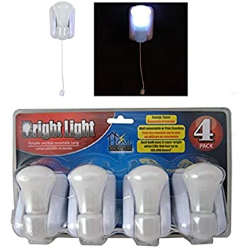 4 Bright Light Led Stick Up Pull Chain Battery Powered