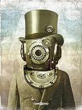 deep sea diver helmet steam punk poster antique pocket watch gears surreal art | Vintage retro marine fun nautical diving scuba steampunk mechanical clock | Unique ready to frame 18x24 sci fi print