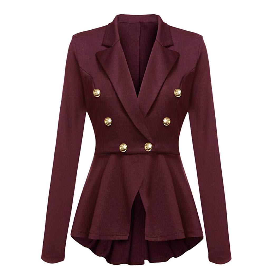 UONQD 2019d Women Jacket Long Sleeve Blazer Ruffles Peplum Button Coat Outwear (Small,Wine red)