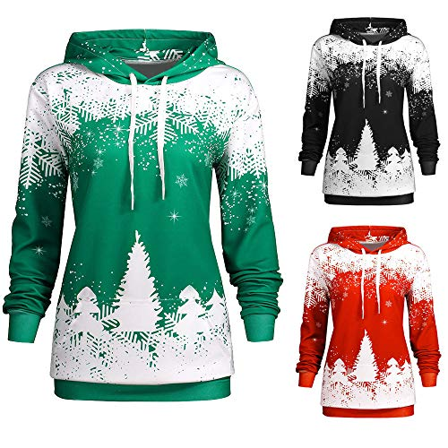 OldSch001 Christmas Hoodie Clearance Womens Snowflake Print Hooded Sweatshirt(Green,XL)