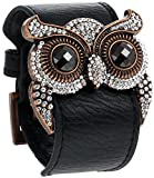Best Regetta Jewelry And Friend Charms - Leather Cuff Bracelet with Crystal Owl Charm, Adjustable Review