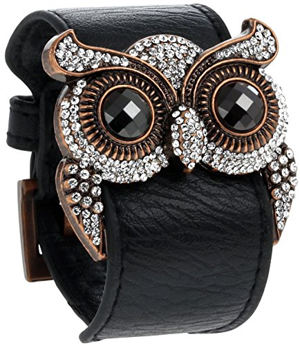 Leather Cuff Bracelet with Crystal Owl Charm, Adjustable Wristband with Metal Alloy Buckle, By Regetta Jewelry
