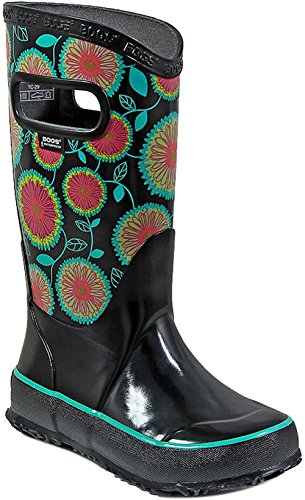 Bogs Kids Rubber Waterproof Rain Boot For Boys and Girls, Wildflowers Print/Black/Multi, 12 M US Little Kid (Puddle Shoes Infant Jumpers)