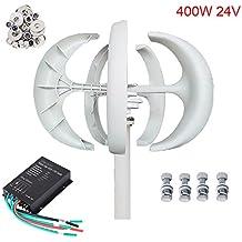 Seeutek Wind Turbine Generator White Lantern 5 Leaves Vertical Axis 400W 24V Kit with Controller