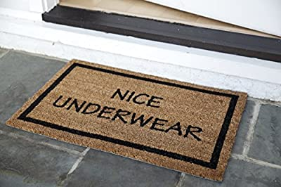 "Entryways Nice Underwear, Coir with PVC Backing Doormat 17""X 28""X.5"""