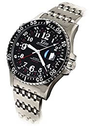 Xezo Air Commando 300 Meters Water-Resistant Divers and Pilot Swiss Made Automatic Watch with 3 Time Zones