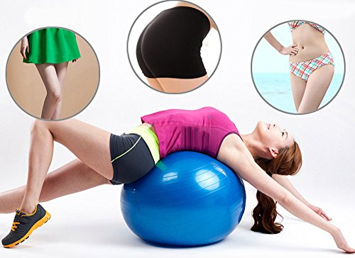 Price comparison product image Exercise Ball, GYM GRADE QUALITY Balance Ball with Pump, Anti-Burst, Anti-Slip Thickening Yoga Balls Fast Start Stability Ball Professional Quality for Pilates, CrossFit Ð Your New Desk Chair (Blue)