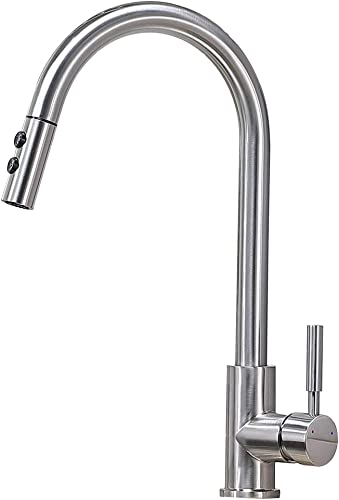 VAPSINT Commercial Stainless Steel Single Hole Pull Down Sprayer Brushed Nickel Bar Kitchen Faucet, Pull Out Kitchen Sink Faucet
