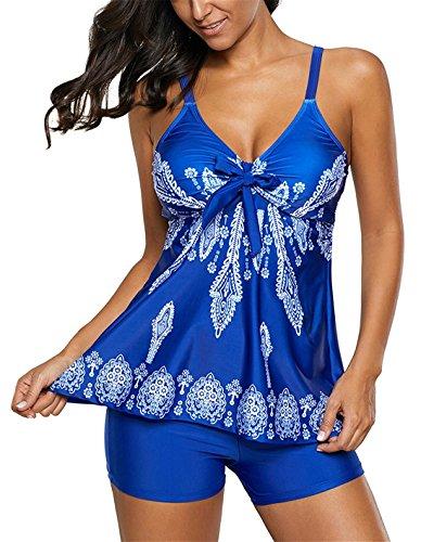 Urban Virgin Womens 2 Piece Bikini Spaghetti Strap Printed Padded Tank Top Tankini Swimsuits For Women Royal Blue - Swimsuits Female