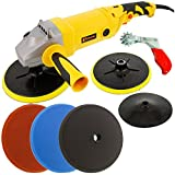 Custom Shop Heavy Duty Variable Speed Polisher with a Professional 3 Foam Pad Buffing and Polishing Kit with a FREE Buffing Pad Cleaning Spur