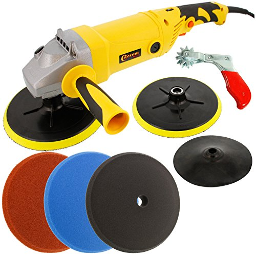 Custom Shop Heavy Duty Variable Speed Polisher with a Professional 3 Foam Pad Buffing and Polishing Kit with a FREE Buffing Pad Cleaning Spur by Custom Shop