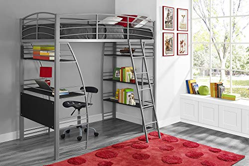 (DHP Studio Loft Bunk Bed Over Desk and Bookcase with Metal Frame, Gray, Twin)