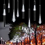 Minger LED Falling Rain Lights with 11.8inch 8 Tube 144 LEDs, Meteor Shower Lights, Icicle Snow Fall String LED Cascading Lights for Wedding, Party, Holiday, Xmas Decoration (White)