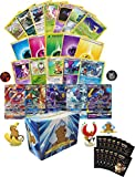 Pokemon Player's Collection - 150 Pokemon Cards - Pokemon Sleeves - GX - Rares - Foils - Pokemon Figure - Energy - Coin! Includes Golden Groundhog Storage Box!