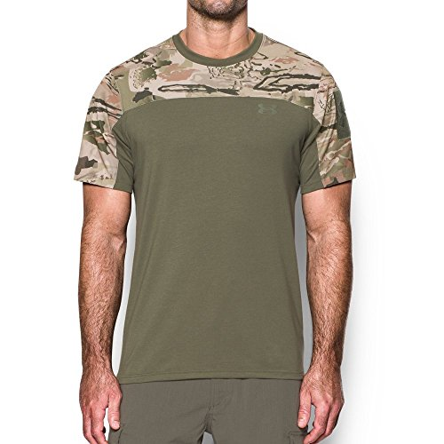 Under Armour Men's Tactical Combat T-Shirt, Ridge Reaper Camo Ba/Marine Od Green, - Crew Ridge Neck