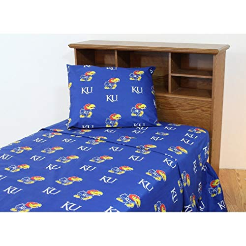 (3 Piece NCAA Jayhawks Sheet Twin XL Set, Blue Multi Collegiate Football Theme, Sports Pattern Bedding, Team Logo Fan Merchandise Athletic Team, Fully Elasticized Fitted, Soft & Durable Cotton)