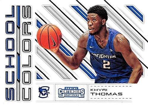 Khyri Thomas basketball card (Creighton Blue Jays) 2018 Panini Draft School Colors Rookie #16