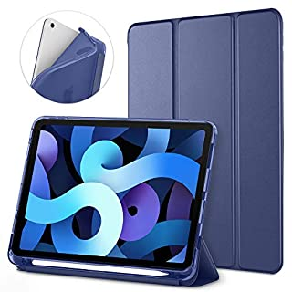 DTTO iPad Air 4 case iPad Air 4th Generation case iPad 10.9 case with Apple Pencil Holder,Translucent Frosted Back Smart Cover ,Auto Sleep/Wake, Navy Blue