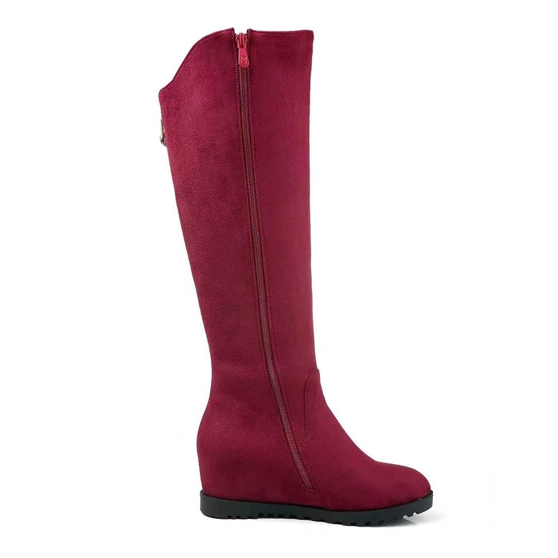 KingRover Women's Embroidery Slip On Zipper Hidden Heel Wedge Wide Calf  Western Knee High Suede Riding Boots: Amazon.ca: Shoes & Handbags