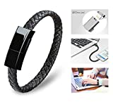 Dzzkoye USB Charging Cable Bracelet Short Portable Leather Charger cord (L)