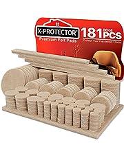 Vilten Meubelpads X-PROTECTOR 181 stuks - Premium vloerbeschermers voor meubels, Ultra Large Pack Alle maten Meubelvilten pads voor Meubelvoeten - Bescherm uw houten vloeren