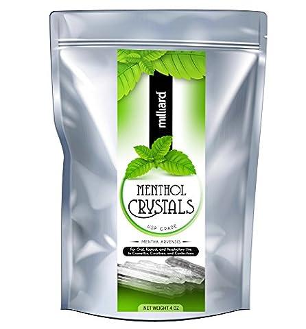Milliard Menthol Crystals USP Grade - 4OZ Package - Therapy Bath 1 Lb Powder