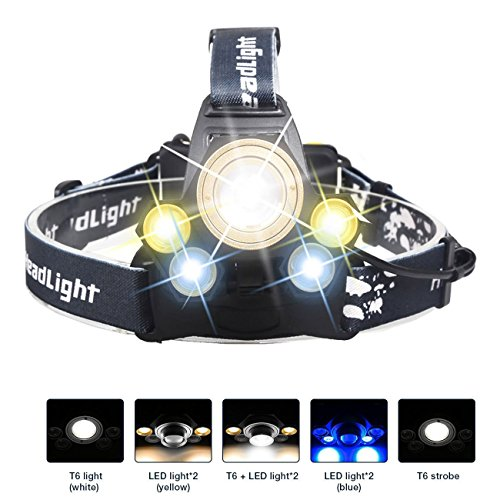 s Rechargeable Headlamp LED Headlight With USB Cable 5 Modes For Camping,Fishing,Riding,Hiking (Batteries included) (Yellow Rechargeable Flashlight)