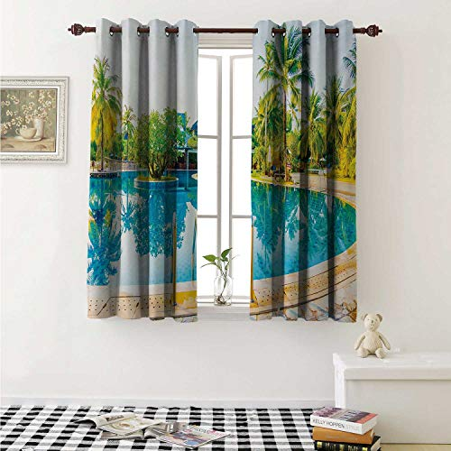 shenglv Landscape Waterproof Window Curtain Umbrella and Chair Around The Round Pool Tourist Space Famous Spots Concept Curtains Living Room W55 x L45 Inch Green Blue Cream