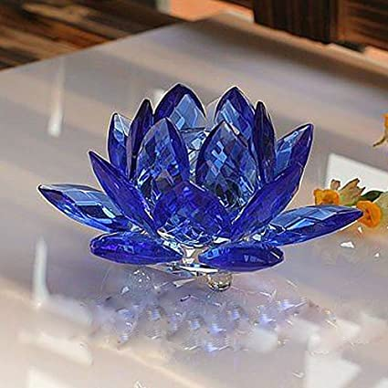 Amazon amlong crystal 3 inch sapphire blue crystal lotus flower amlong crystal 3 inch sapphire blue crystal lotus flower feng shui home decor with gift box mightylinksfo Image collections