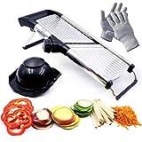 Mandoline Slicer, Vegetable Potato Slicer, Julienne Slicer, Onion Cutter, With Stainless Steel Adjustable Blade. Cut Resistant Gloves Included.