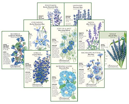 Singing The Blues Flower Seed Collection - 10 Packets with Gift Box ()