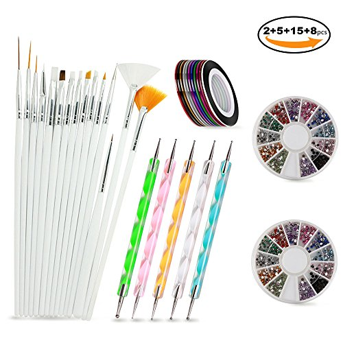 Nail Art Brushes, Teenitor 3d Nail Art Paiting Polish Design Kit with 15 Nail gel Brushes, Nail Dotting Pen 5pcs, 12 Colors Nail Rinestones & 10 adhesive Nail striping tape for False Acrylic NailsNail (Nail Art Painting)