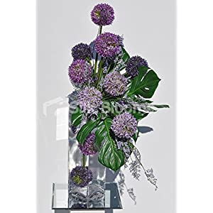 Beautiful Artificial Purple Allium and Green Leaf Floral Table Display w/ Wire Detailing 5