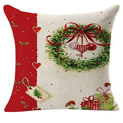 2017 Christmas Cotton Linen Square Pillow Luxury Throw Cases Bedding Flax Decorative Cover Home - Pillow Case ()