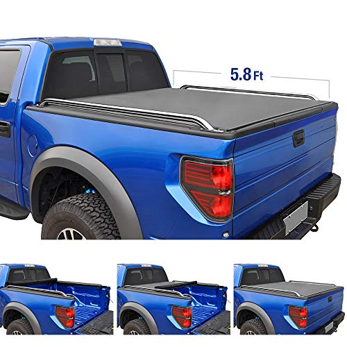 Tyger Auto T2 Low Profile Roll-Up Truck Bed Tonneau Cover TG-BC2C2060 works with 2014-2019 Chevy Silverado / GMC Sierra 1500 | Fleetside 5.8' Bed | For models without Utility Track System -