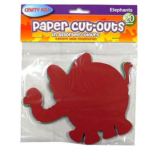 Crafty Bitz Pkt.20 Coloured Cutouts - Elephants