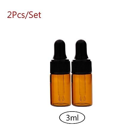 CALISTOUK ámbar pequeño cristal cuentagotas botellas viales para aceite esencial muestreo, 3ML, 2 unidades