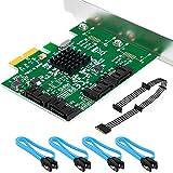 SHINESTAR SATA Card RAID 4 Port with a SATA Splitter Cable and 4 SATA Cables, PCIe SATA Controller Card, Support RAID 0, RAID 1, RAID 10 and HyperDuo Model, Plug and Play
