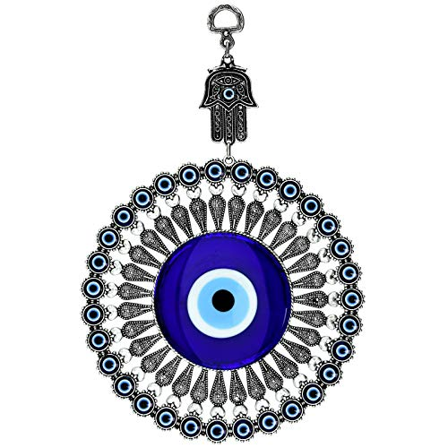 Erbulus Turkish Big Glass Blue Evil Eye Bead Home Protection Charm with Hamsa Keychain Gift - Hanging Ornament Wall Decor