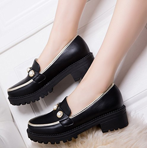Black Mid Shoes Pumps Aisun Block Platform Chic Heels Women's Court qnA6zxU