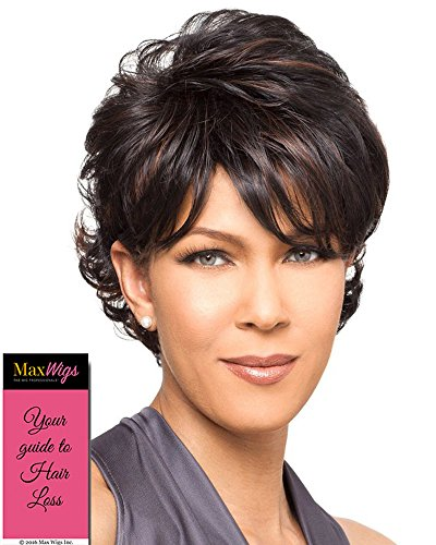 Bianca Wig Color 1B - Foxy Lady Wigs Short Pixie Wavy Textured Layers Synthetic Wispy Bangs African American Women's Machine Wefted Lightweight Average Cap Bundle with MaxWigs Hairloss Booklet