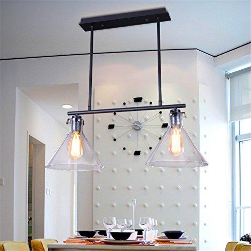 Perfectshow Loft Minimalist RH 2-Lights Glass Vintage Rustic Country Style Pendant Island lights Rectangle Steampunk Office and Pool Table Room Decor Funnel (Billiard Island Light)