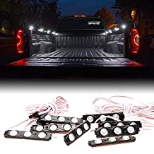 Xprite 24 LED Truck Bed Rail Light Side Marker LED Lighting Kit with Switch (8pcs) (White)