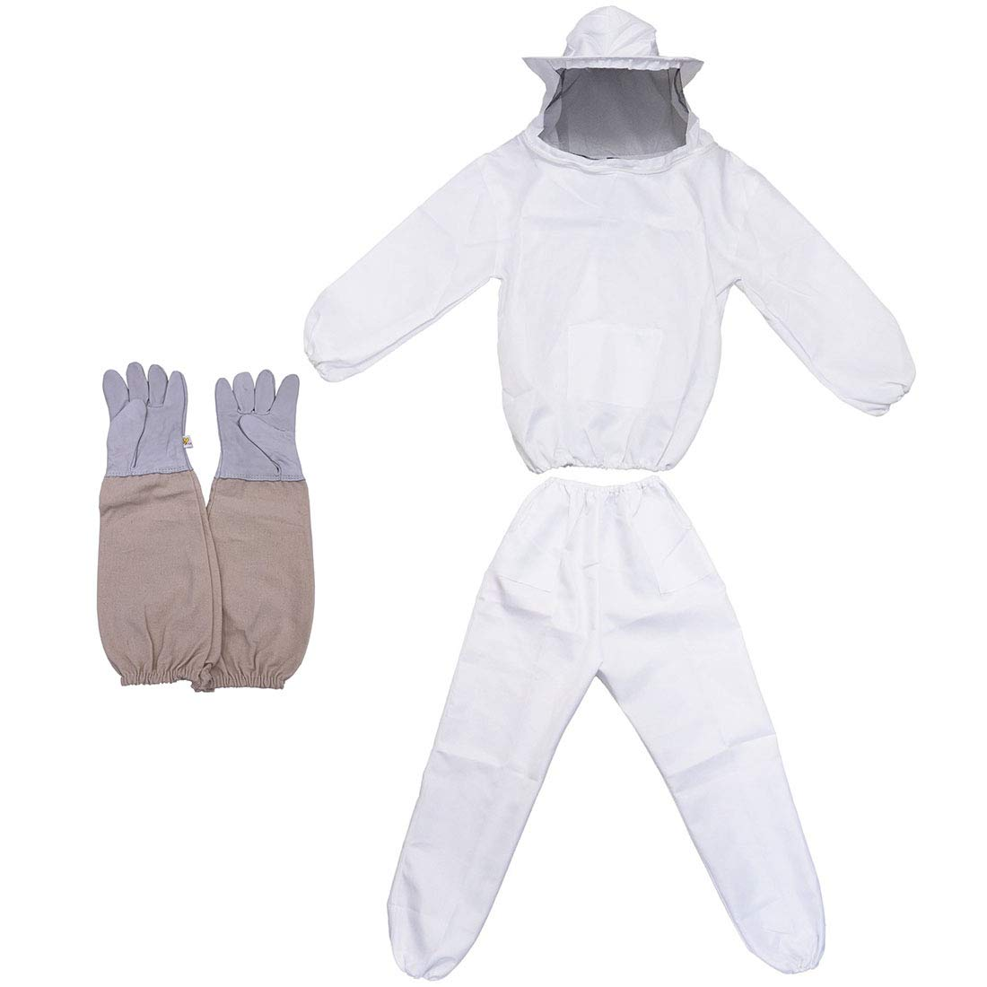 Bee Keeper Outfit, Bee Keeping Gear, Beekeeping Suit Protective with Veil Hood (Jacket, Pants, Gloves) White by MTH