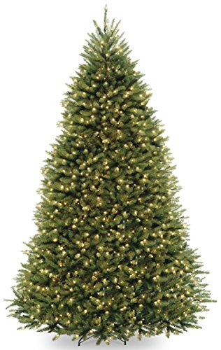 National Tree 9 Foot Dunhill Fir Tree with 900 Dual LED Lights and 9 Function Footswitch, Hinged (DUH-300D-90) - Little Christmas Tree Company