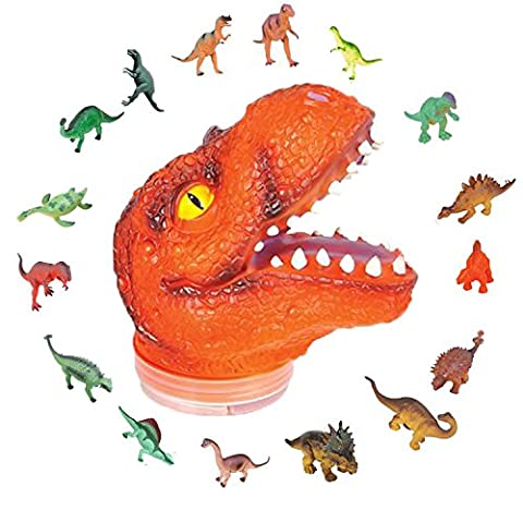 T-Rex Kids Toy Play Set by ArtCreativity - Includes 24 Mini Dinosaur Action Figures and Realistic Looking Tyrannosaurus Rex Head - Inodoor & Outdoor Use - Popular Children's Gifts and Learning - Dinosaur Head