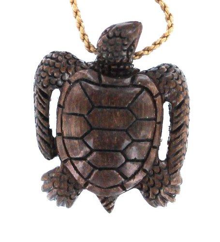 Koa Wood Necklace - Sea Turtle Long Finned
