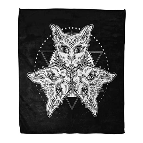 Emvency Decorative Throw Blanket 60 x 80 Inches Three of Cat's Head Mystical Composition Halloween Tattoo Egyptian Spirituality Boho Warm Flannel Soft Blanket for Couch Sofa Bed