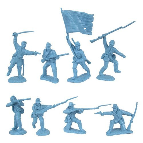 Plastic Figure War (Civil War 1863 Union Infantry Charging Plastic Army Men: 16 LIGHT BLUE 54mm Figures - 1:32 scale)