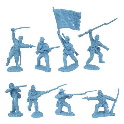 Figure Plastic War (Civil War 1863 Union Infantry Charging Plastic Army Men: 16 LIGHT BLUE 54mm Figures - 1:32 scale)